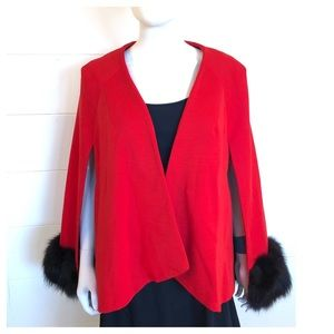 VTG 50s Wool Fox Cape Red Holiday Formal Party Sm